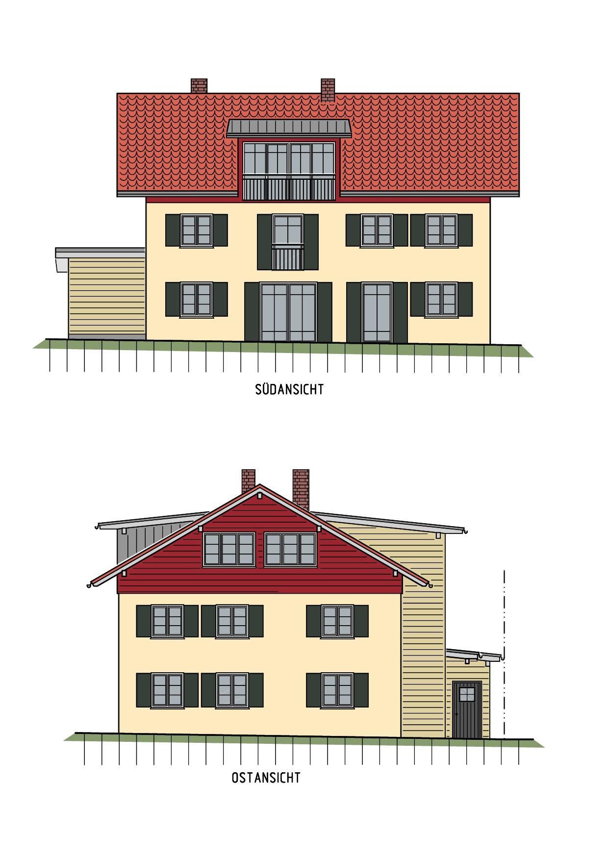 Visualisierung, Seitenansicht, Umbau und energetische Sanierung MFH in Grünenbach