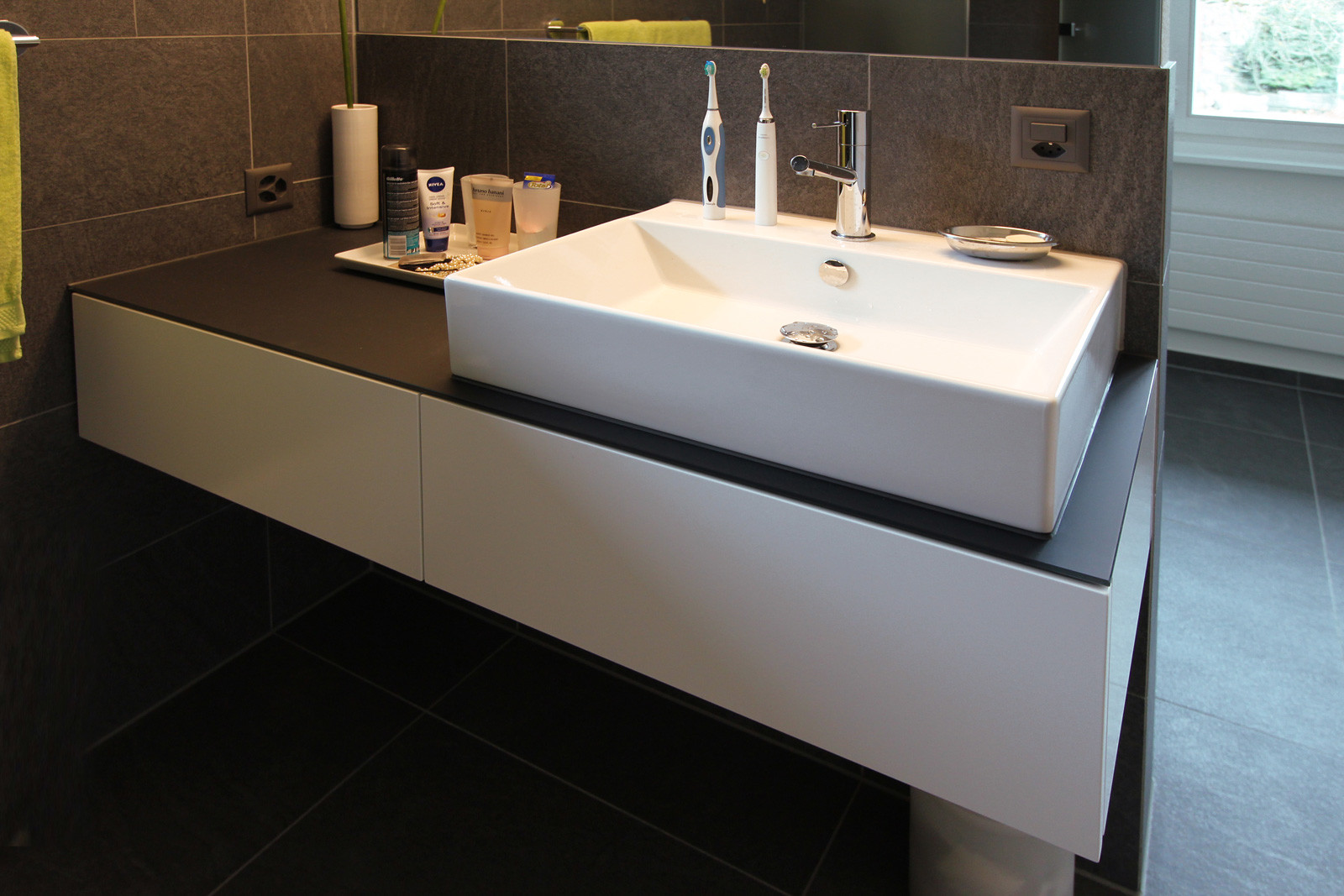 Washbasin vanity unit in private apartment.
