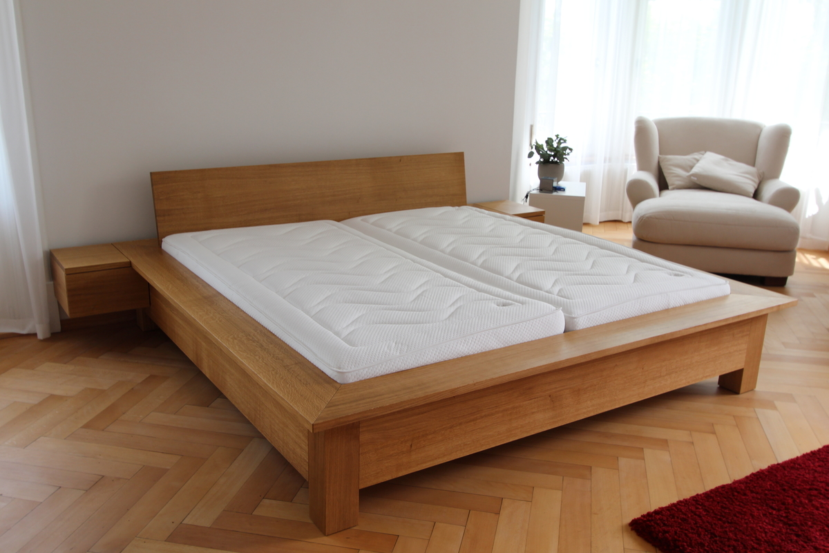 Double bed solid oak, custom-made