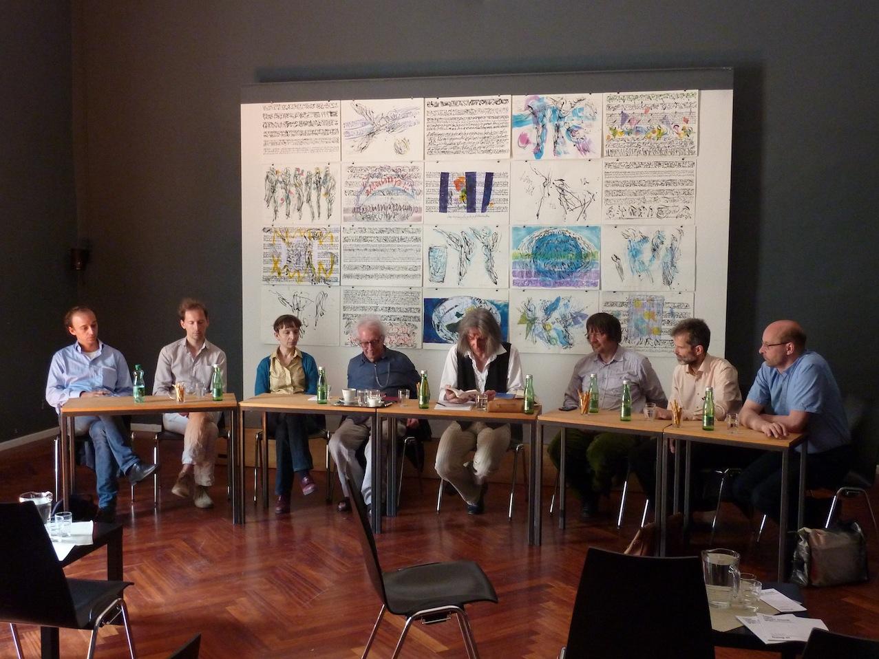 Thomas Wally, Reinhold Schinwald, Ariane Jeßulat, Dieter Schnebel, Clemens Nachtmann, Winfried Ritsch, Klaus Dorfegger, Frank Wörner © D. Mayer