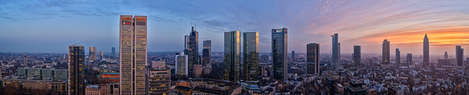 "Skyline Frankfurt in the early ""Blue Hour"" - Original File Size 31309 x 6407 Pixel @300dpi - shot with PhaseOne IQ280"