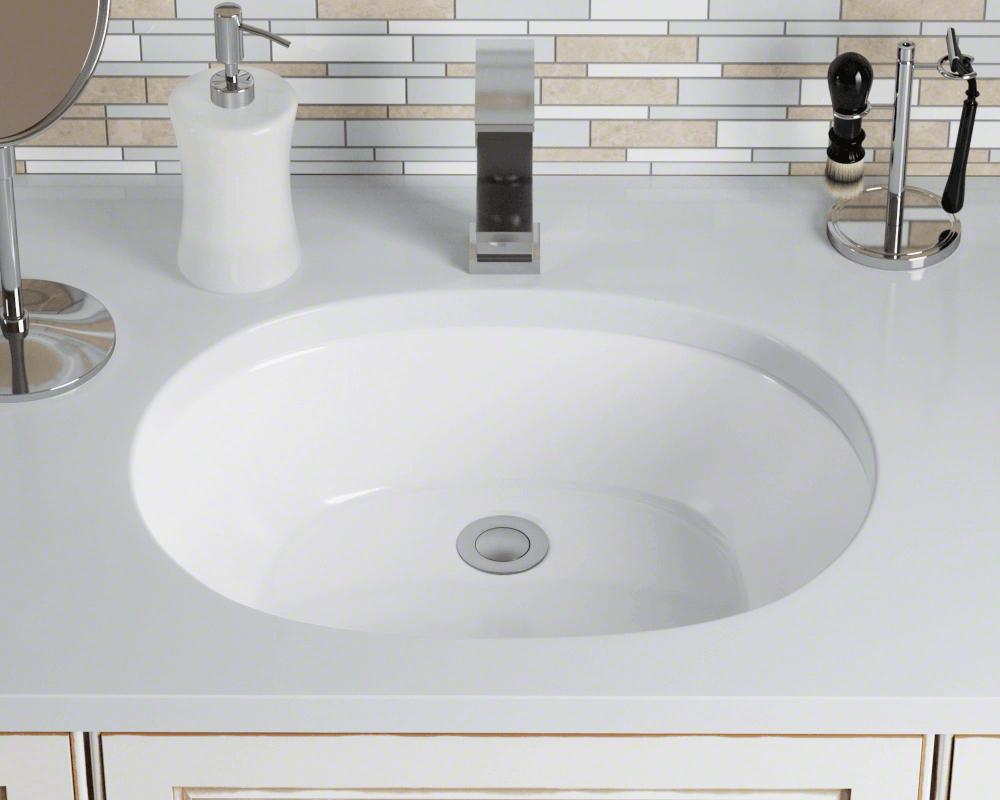 Oval porcelain undermount sink - White