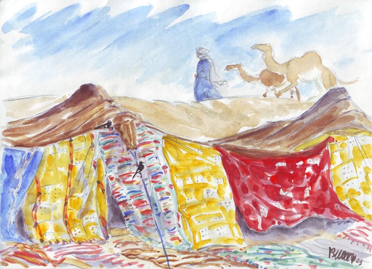 Tentes nomades (dans mes carnets de voyage) Réf MRC008 - vente repro