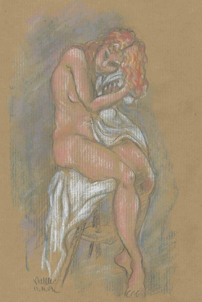 Nu assis tissu blanc, crayon/pastel (original vendu) - réf NU014 reproduction en vente