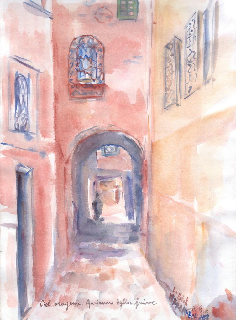 Marrakech, étude à l'aquarelle