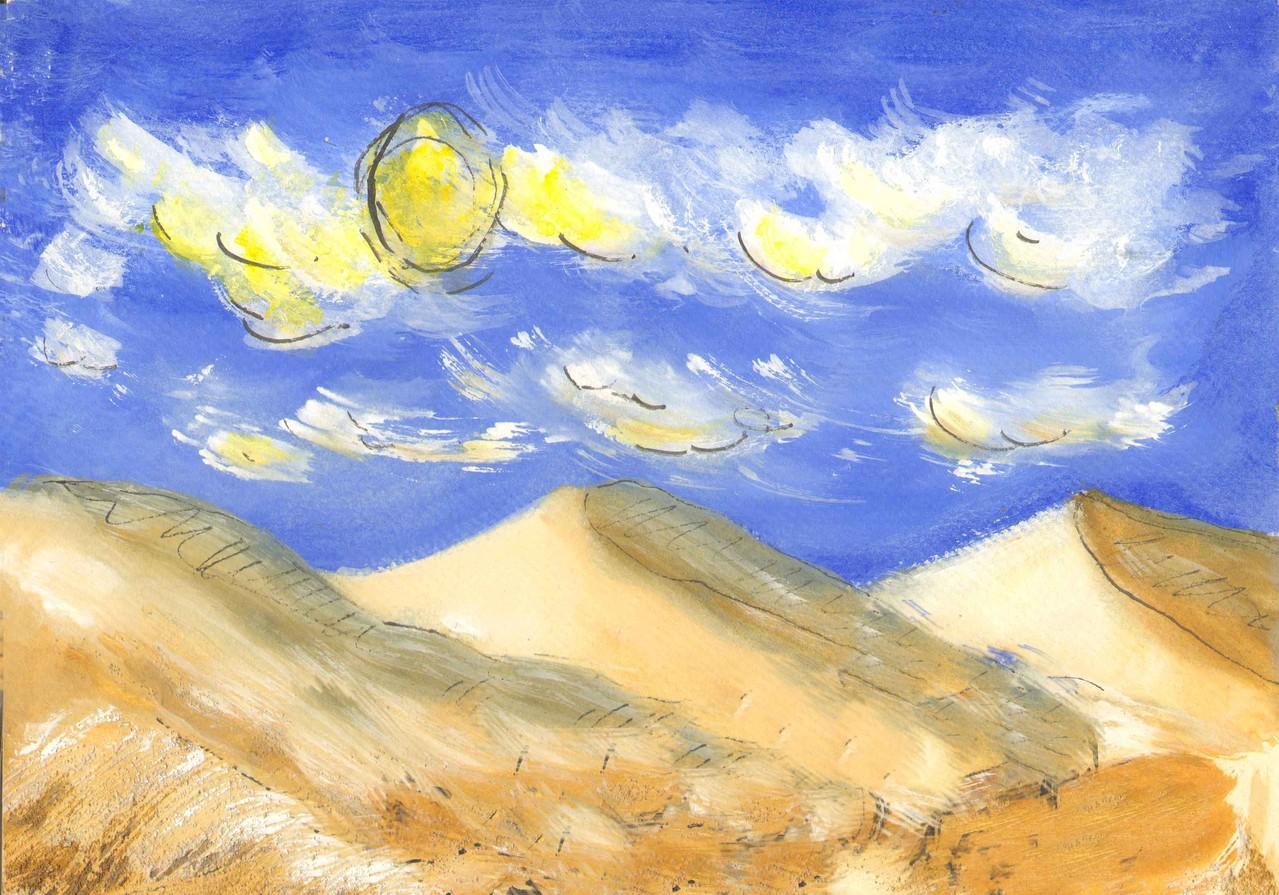 Sahara, acrylique/encre /sable (ciel de l'image fixe ! à restaurer)