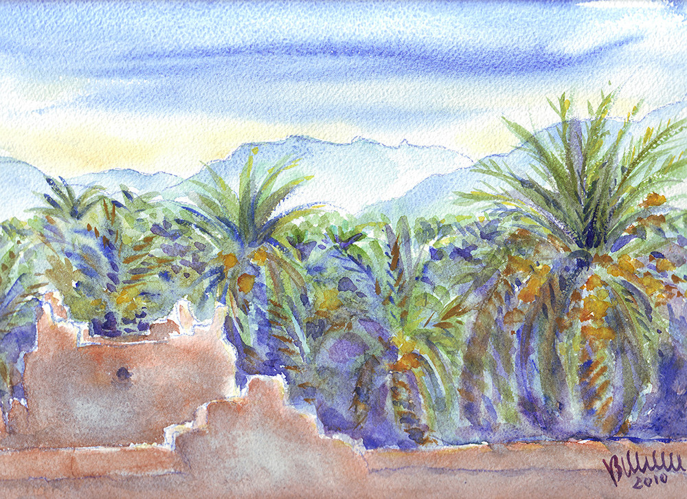 Palmeraie, Maroc, aquarelle ORIGINALE vendu - MRC004 et vente reproduction