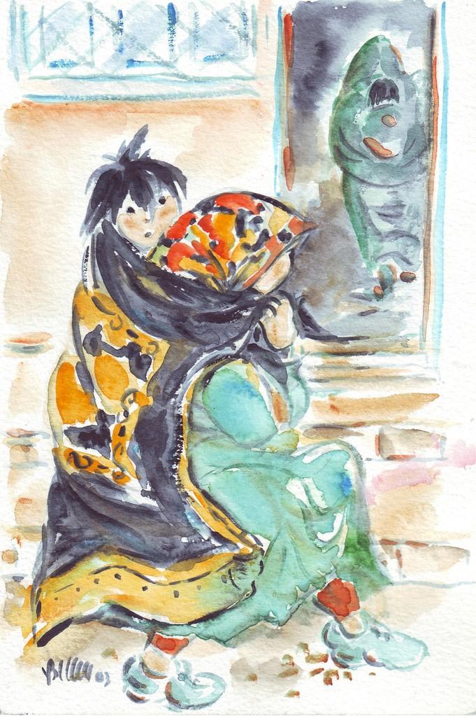 Attente au dispensaire, Maroc - croquis