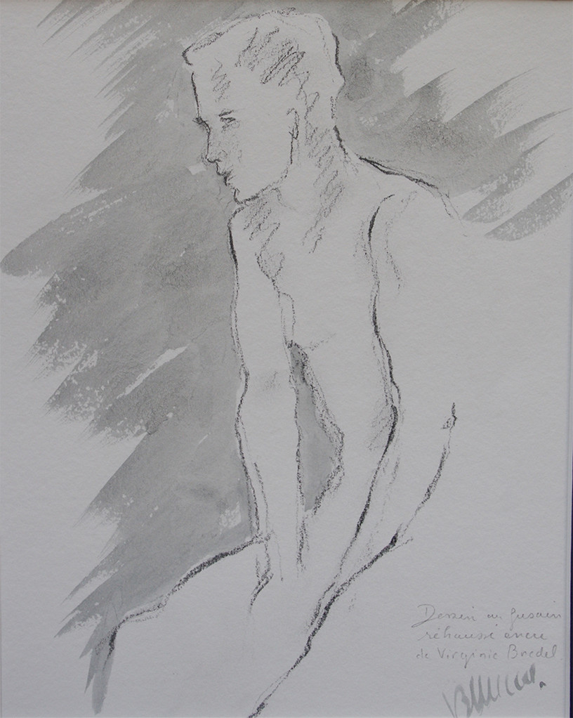 Jeune homme, crayon, ORIGINAL DISPONIBLE - NU003