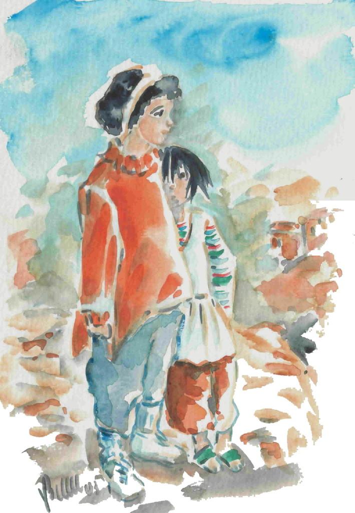 Petites soeurs, Maroc, aquarelle -  vendue