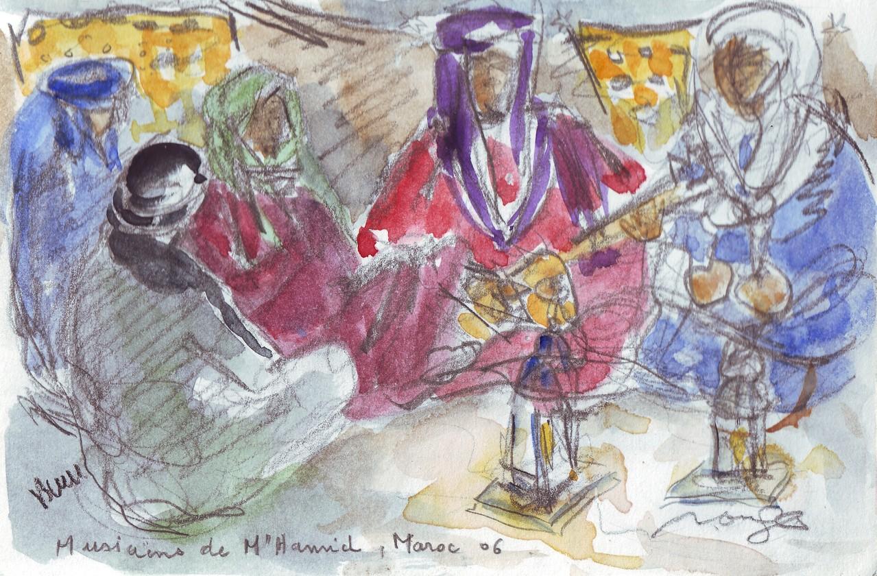 Musiciens, Sahara, croquis