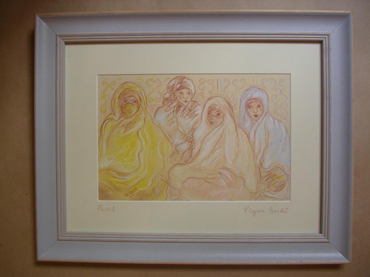 Femmes du désert crayon sanguine/pastel - ORIGINAL DISPONIBLE - réf MRC002  - 40X30cm cadre mauve ou sans
