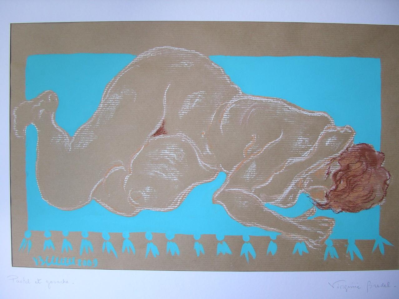 Nu/tapis turquoise - ORIGINAL DISPONIBLE - réf NU004 -pastel/acrylique 70x50cm