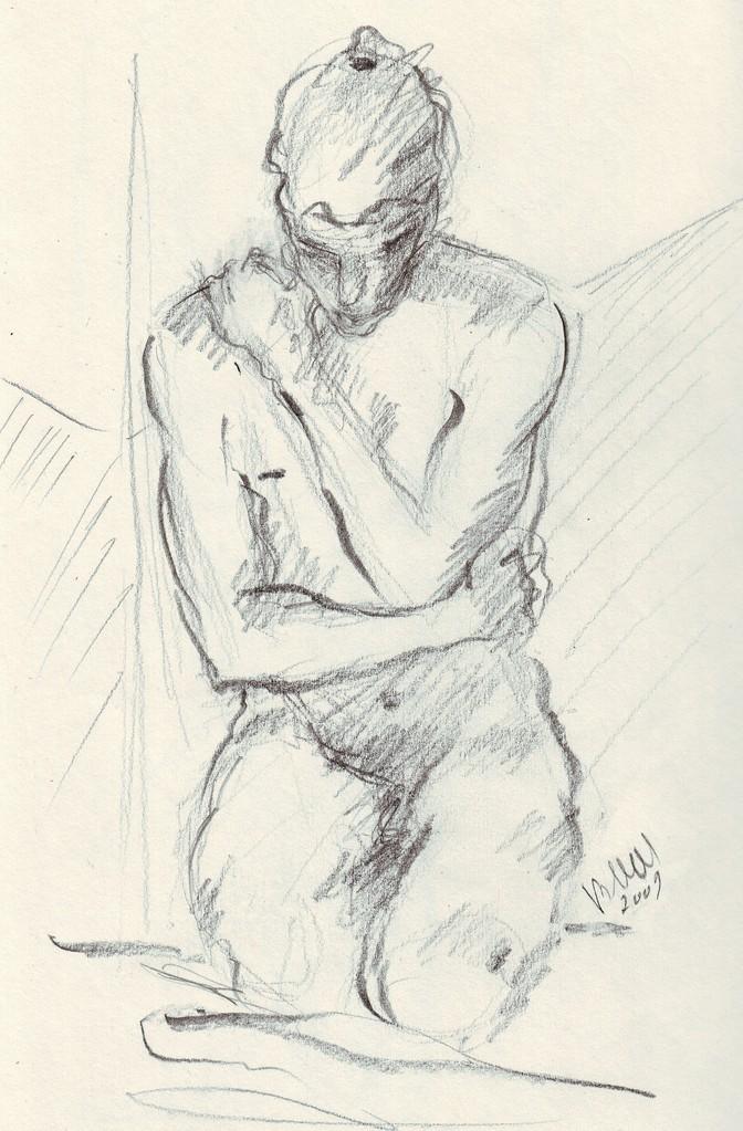 Nu masculin, étude - (original vendu) - réf NU016