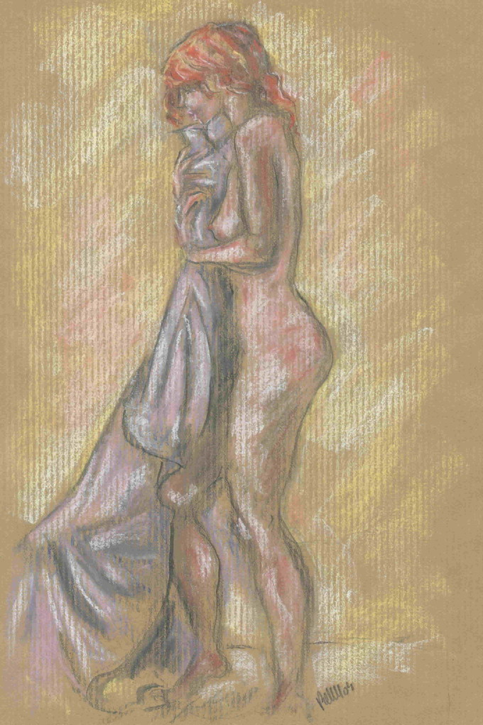 Nu au tissu mauve, crayon/pastel  (original vendu) - réf 013 : reproduction