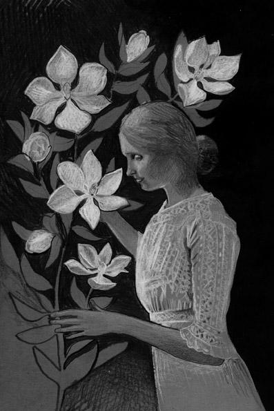 Hellen Keller 'ziet' magnolia's voor het boek 'kijk ons leven'  door Mira de Boer