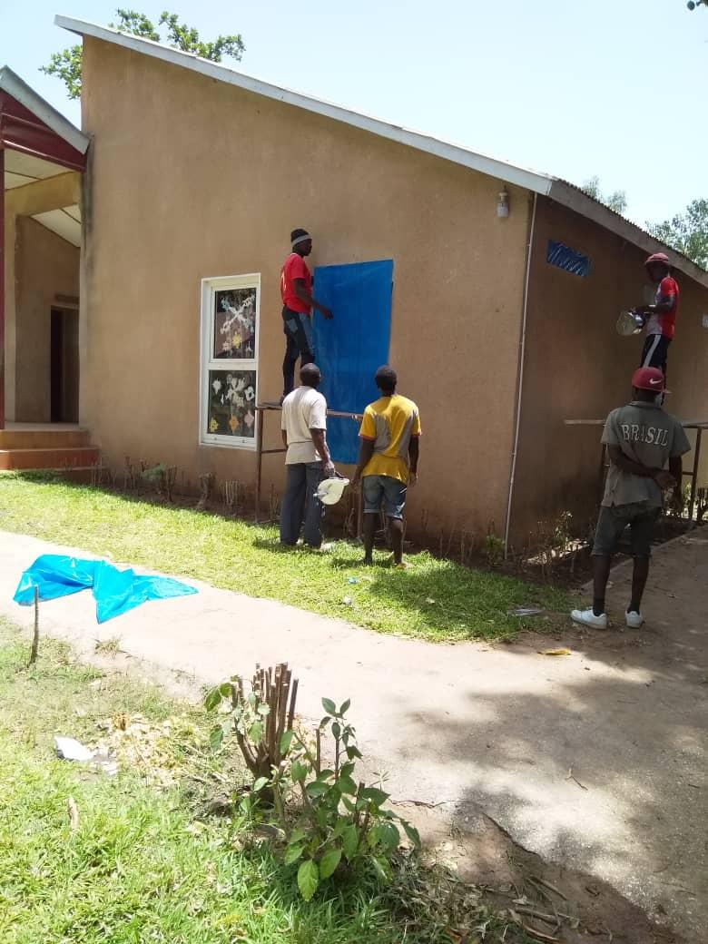 Vorbereitung der Fassadenarbeiten.