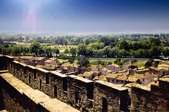 Blick von der Stadtmauer von Carcasonne