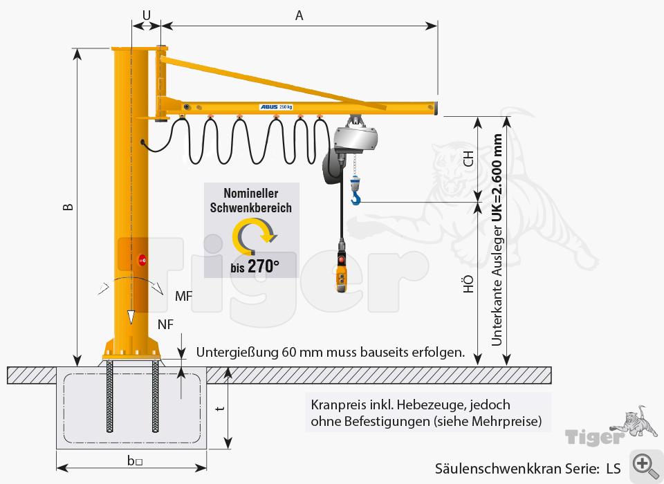 ABUS Säulenschwenkkran LS - Zeichnung