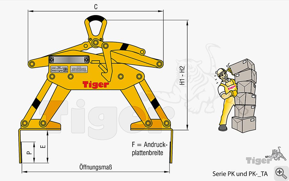 Kartongreifer - Zeichnung