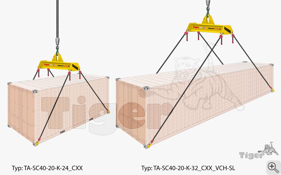 Containertraversen - Kran-Transport von 20 und 40-Fuß-Überseecontainer