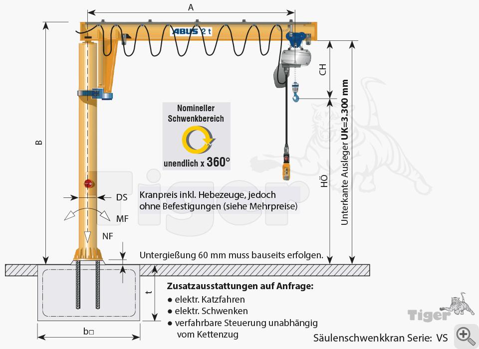 ABUS Säulenschwenkkran VS - Zeichnung