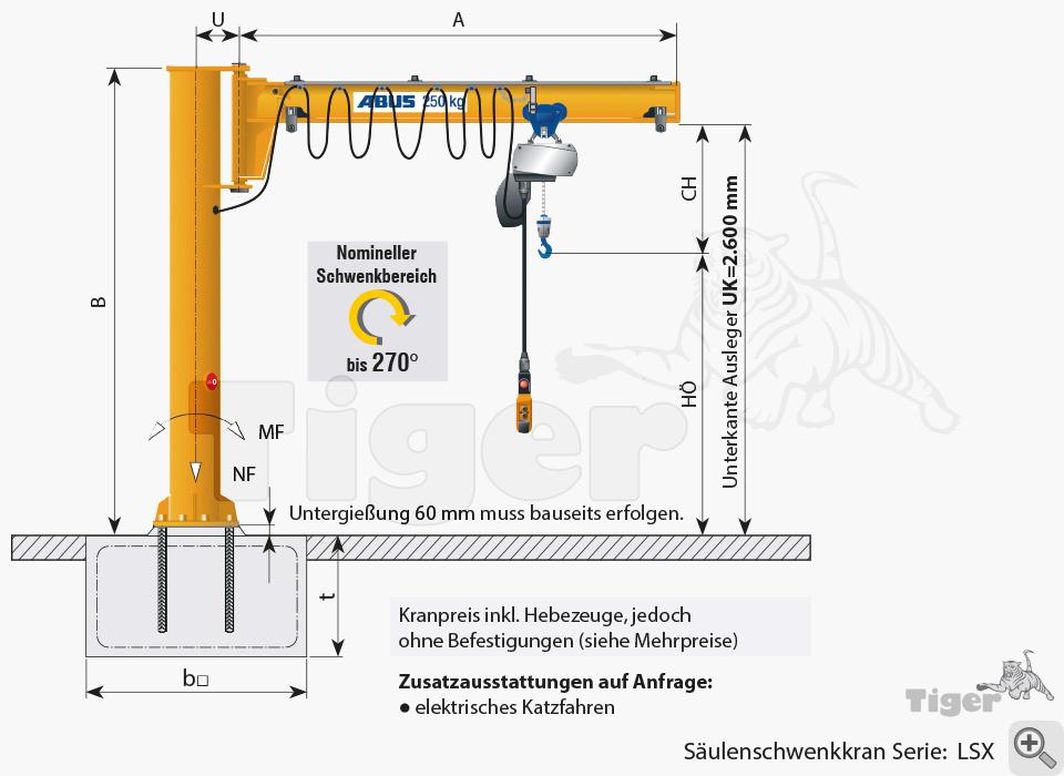 ABUS Säulenschwenkkran LSX - Zeichnung