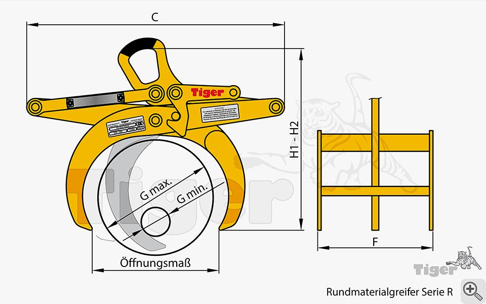 Rundmaterialgreifer Zeichnung