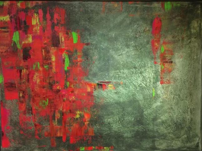 Invasion in Rot, 100x80cm, verkauft