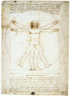 ウィトルウィウス的人体図(古代ローマ時代の建築家ウィトルウィウスの記述をもとにレオナルド・ダ・ヴィンチが描いた作品)