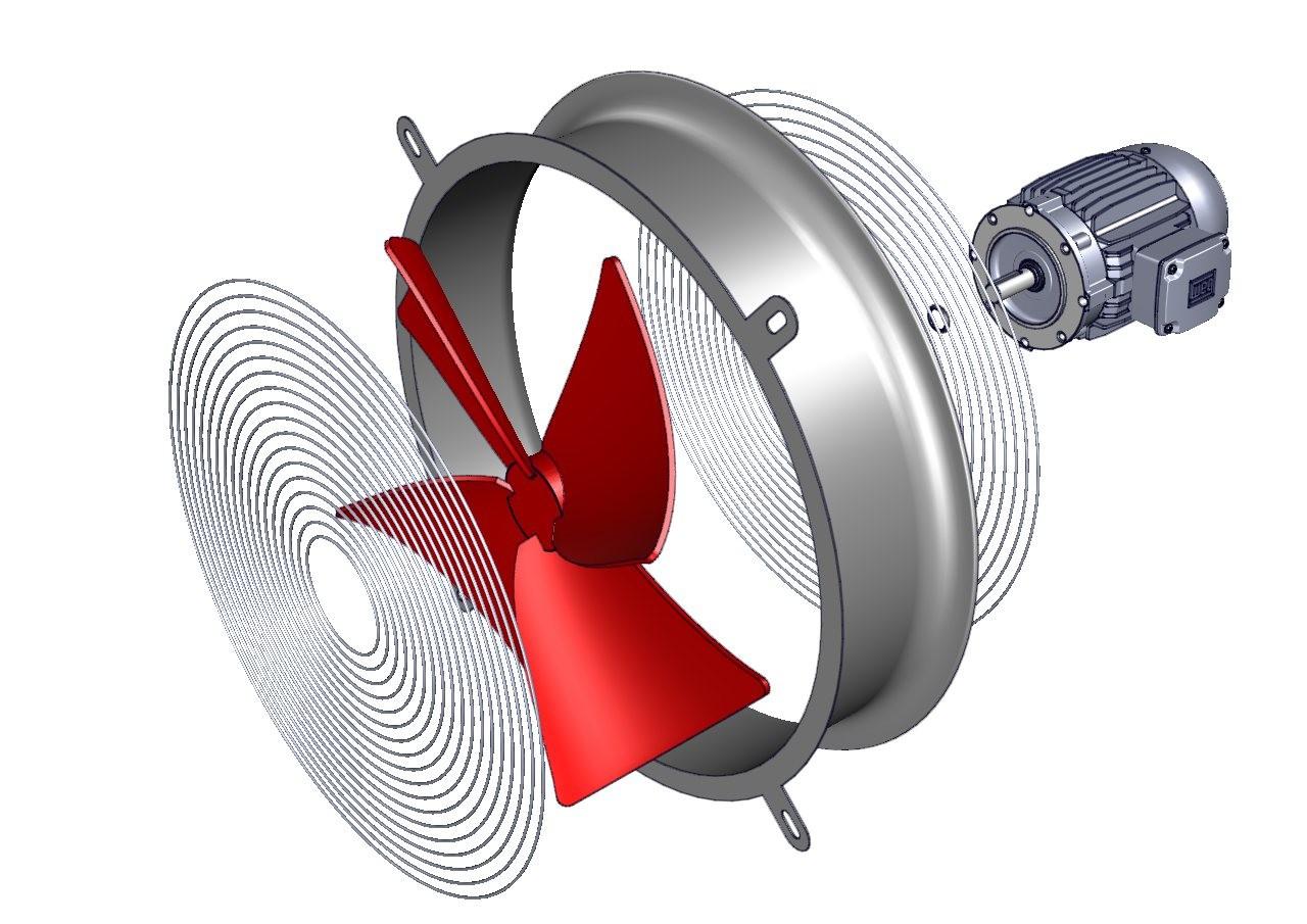 ventilador industrial axial con aspa de aluminio