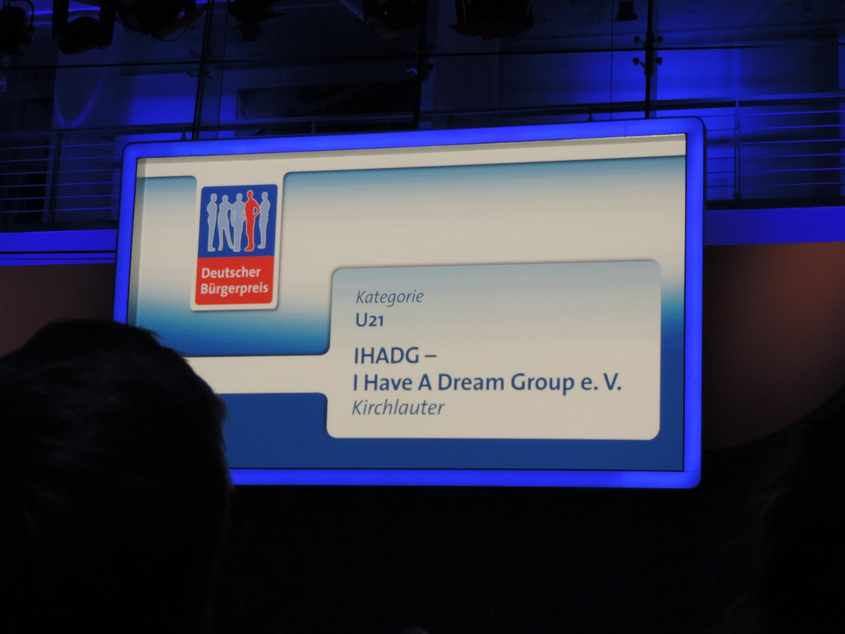 Unser Name auf dem großen Bildschirm in Berlin ;)
