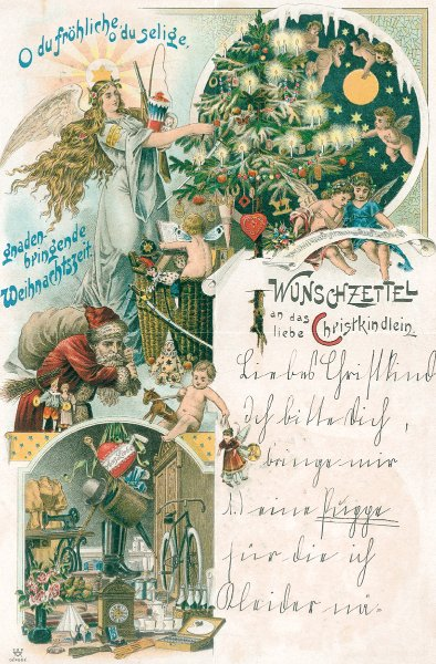 """Wunschzettel aus dem Jahr 1928 von Marianne Adlers** Auf der Rückseite steht """"Ich werde fleißig lernen und brav sein"""""""