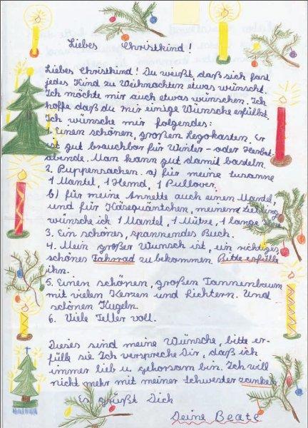Wunschzettel ca. aus dem Jahr 1960 von Beate***