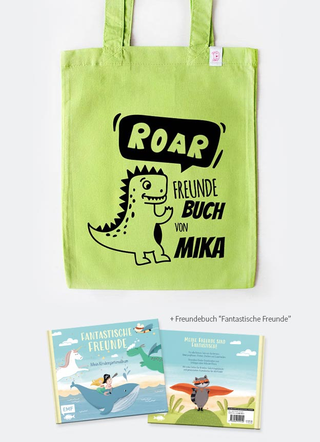 Freundebuch Set | Dino - grün & schwarz