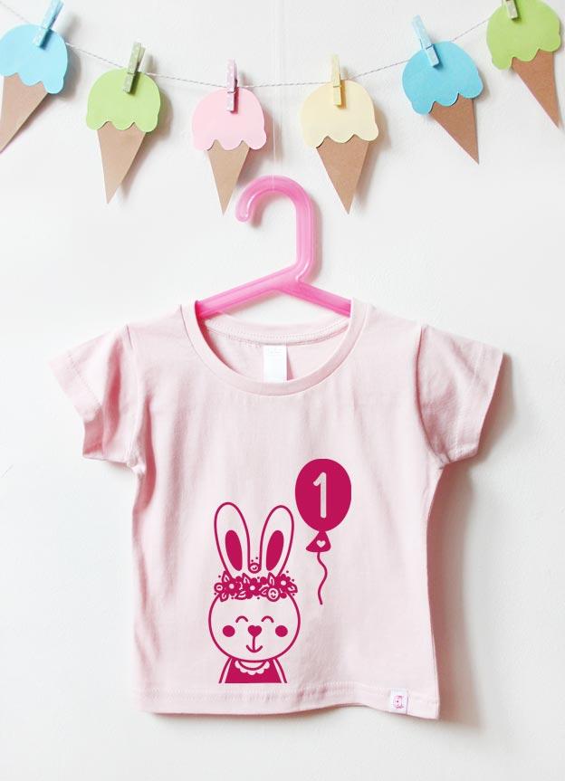 Geburtstagsshirt | Hase 1 Jahr - hellrosa & pink