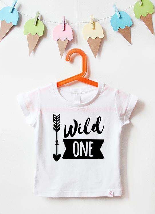 Babyshirt | Wild One Boy - weiß & schwarz