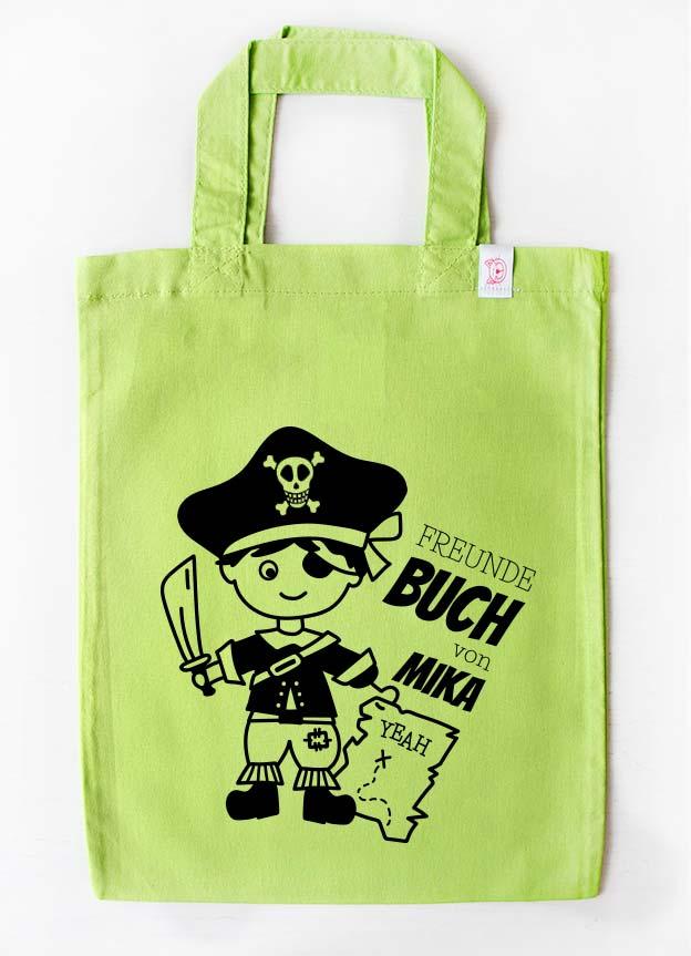 Freundebuch Tasche | Pirat - grün & schwarz