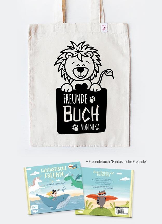 Freundebuch Set | Löwe - beige & schwarz