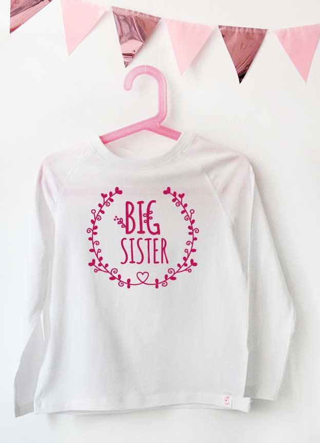Geschwister Kollektion | Langarmshirt - Blumenranke big sister - weiß & pink
