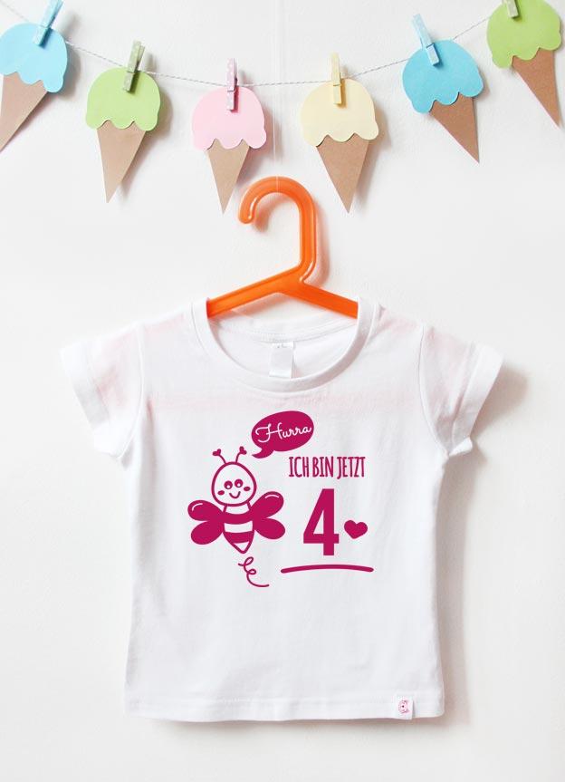 Geburtstagsshirt | Biene 4 Jahre - weiß & pink