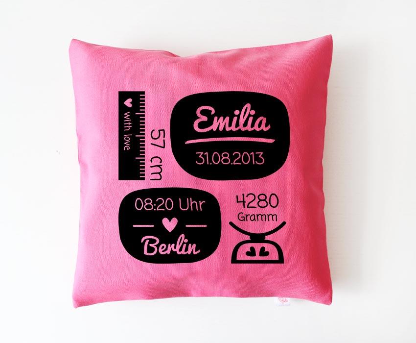 Babykissen mit Namen | Geburtsdaten - pink & schwarz