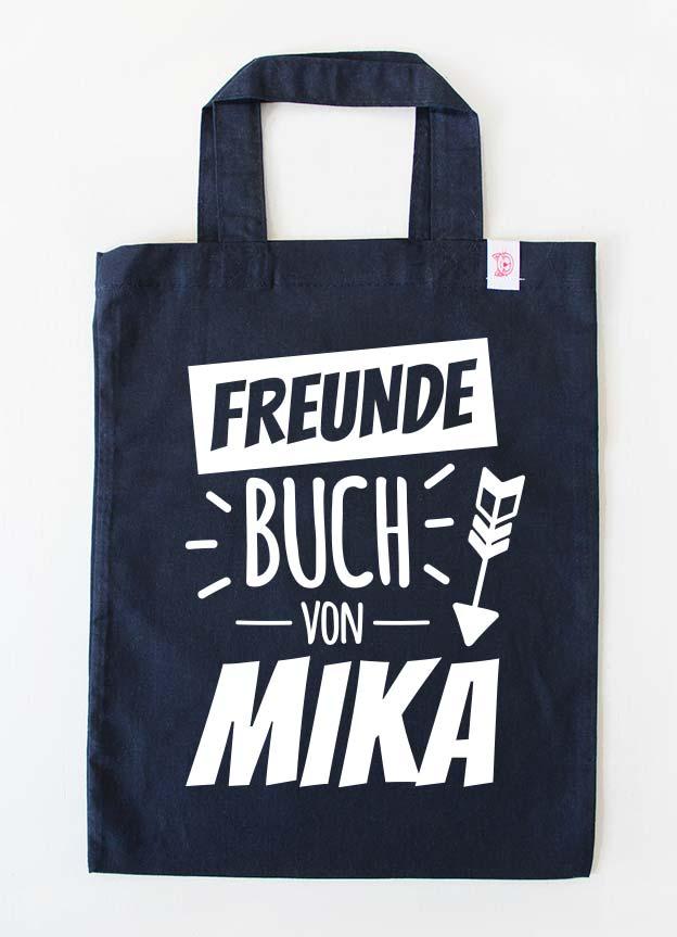 Freundebuch Tasche | Pfeil - dunkelblau & weiß