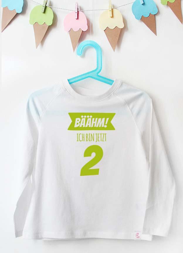 Geburtstag Langarmshirt | Bäähm! 2 Jahr - weiß & grün