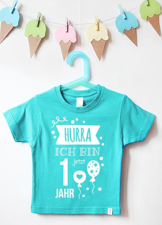 Babyshirt | Hurra 1 Jahr - türkis & weiß