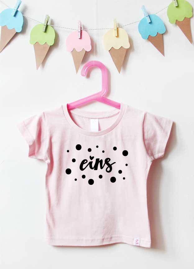 Geburtstagsshirt | Punkte 1 Jahr - hellrosa & schwarz