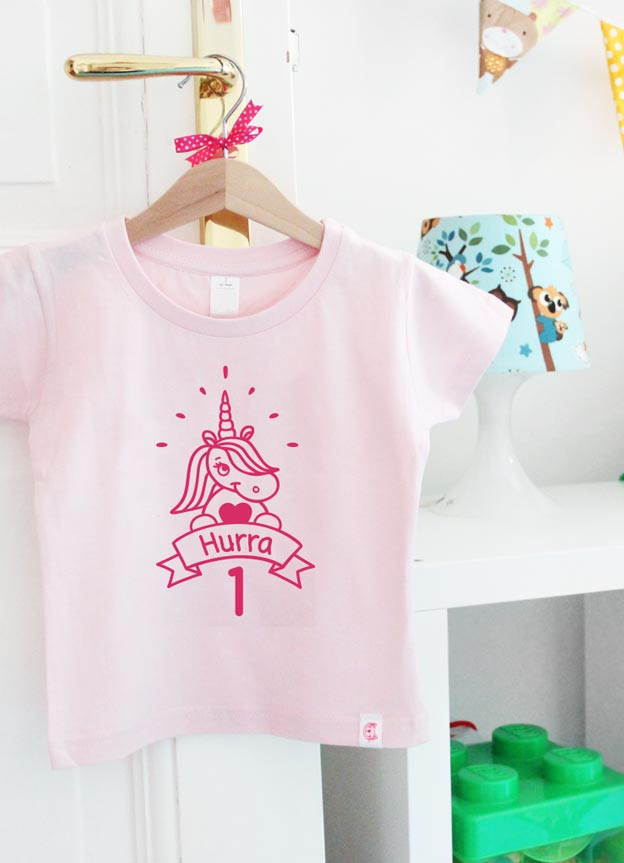 Geburtstagsshirt | Einhorn Hurra 1 Jahr - hellrosa & pink