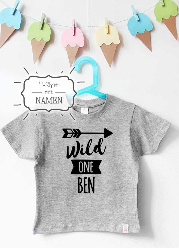 Geburtstagsshirt Namen | Pfeil one - grau & schwarz