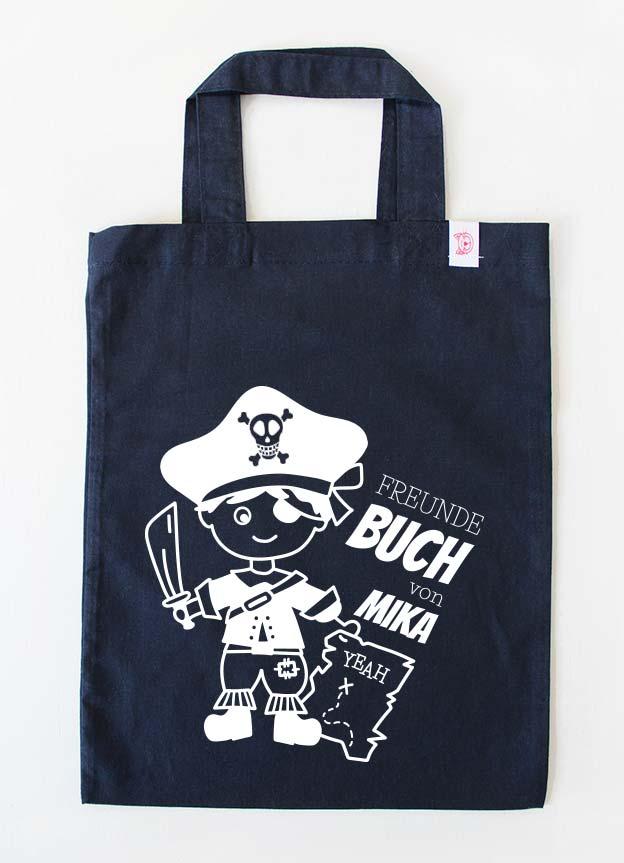 Freundebuch Tasche | Pirat - dunkelblau & weiß