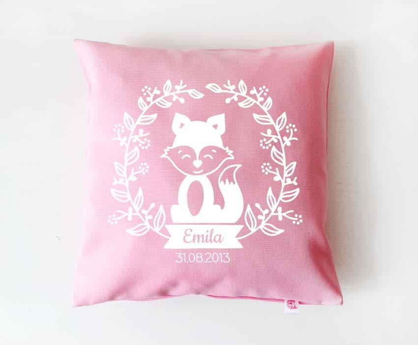Babykissen - Blumenranke Fuchs - hellrosa & weiß